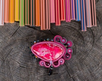 SALE Pink soutache brooch - soutache jewelry - pink brooch - rose brooch - soutage - embroidered pin embroidery  handmade broocH FREE SHIP
