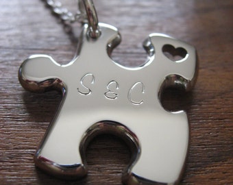 Thick Puzzle Pendant Necklace with Date and Initials