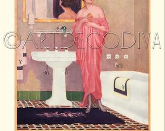 Vintage 1920's DECO Pink Dress Flapper Girl BATHROOM Bath Tub Sink Decorating Art Advertising POSTER Fine Art Print