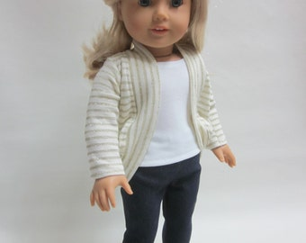 18 inch Girl Doll Clothes  Girl of Today Denim Leggings Tank Top and Cardigan