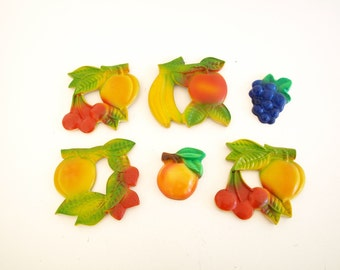 Set of 6 cheery vintage fruit chalkware wall hangings 40s 1940s style colorful retro kitchen home decor