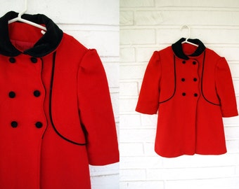 Vintage girls red wool blend velvet collar coat  size 4T