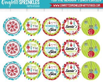 """INSTANT DOWNLOAD """"Tis The Season"""" Winter Christmas Ornaments & Snowflakes 4x6"""" 1"""" Inch Bottle Cap Image/Digital Collage Sheet"""