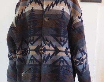 Pendelton Wool Coat, Western, Southwestern, Cowboy, Tribal, Blue, Patterned Jacket