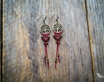 Tree of life macrame earrings customized boho chic jewelry by Creations Mariposa