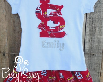 Girls St Louis Cardinals Outfit, Cards, St Louis, Baseball, MLB, Redbirds,  Made to order 12 month, 18 month, 2t, 3t, 4t, 5t, 6, 8,