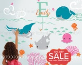 Ocean Wall Decals with Custom Name | Custom Baby Nursery, Children's Room Interior Design | Easy Application | In An Instant Art 035