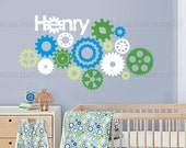 Custom Name Wall Decal | Custom Color Gears | Custom Baby Nursery, Children's Room Interior Design | Easy Squeegee Application | 075