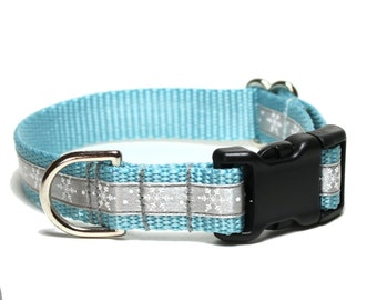 "Silver Blue Snowflakes Dog Collar - 3/4"" (19mm) wide - Choice of collar style and size - Martingale Dog Collars or Quick Release Buckle"