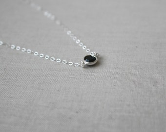 Black Crystal Necklace, Sterling silver Necklace, Swarvoski Crystal Necklace, Dainty Necklace, Christmas Gift For Mom, Stocking stuffer