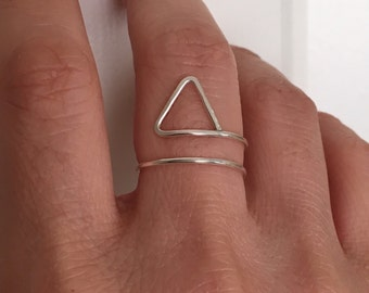 Hammered Triangle Wrap Ring in Gold Fill, Rose Gold Fill, and Silver