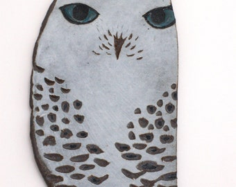 "Ceramic Owl Wall Hanging - Porcelain Sgraffito Raptor Wall Art - Ceramic Bird Tile - Fine Art Pottery Home or Office Decor - ""Snowflower"""