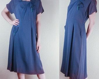 1940's Blue Crepe DRESS // Cord, Beading & Tassels Detailing // Pleated // Medium Large