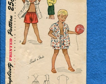 Vintage 1940's Simplicity 2891 Classic Kids Play Clothes Pattern Size 3