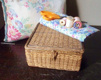 Antique Sewing Basket with Handmade Needle Holders, Wooden Sewing Box with Assorted Notions