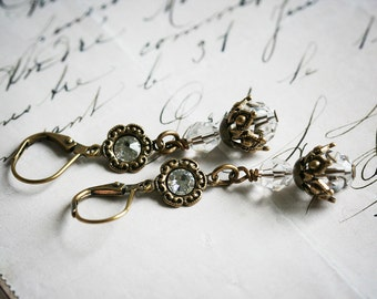 LA PROMESSA Earrings Victorian Bridal Crystal Earrings, Heirloom Renaissance Bridal Earrings, Custom Options Available