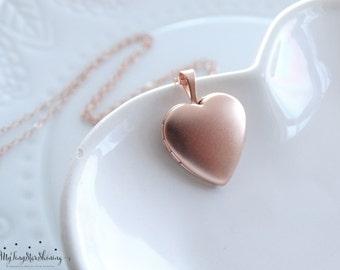 Rose Gold Locket Necklace Heart Locket Necklace in Rose Gold Rose Gold Heart Locket Pendant