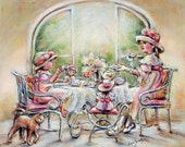 "Tea party, High tea, Dolls, English tea, sisters,Art  ""Teatime With Big Sister"" Laurie Shanholtzer, Canvas or Cotton art paper print"