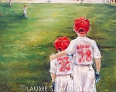 "Baseball painting Lithograph ""Someday...Little Brother"" children sports Artist print, 11x14 Limited Edition by Laurie Shanholtzer"