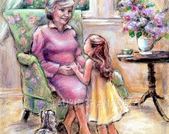 "Grandmother and child, - ORIGINAL pastel painting -'Tell Me Again, Grandma' , Pastel, 14x18"" Laurie Shanholtzer Family art,"