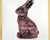 Original painting on paper Easter rabbit chocolate Still life No 1