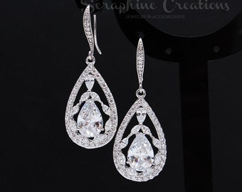 Wedding Earrings Teardrop Cubic Zirconia Wedding Jewelry Diamond Look Statement Earrings Clear Sparkly Crystal Bridesmaid Earrings Valerie
