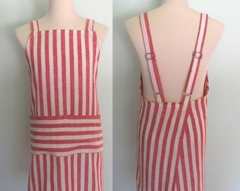 Red and White Stripe Apron, Linen Japanese Apron with Pockets, Red Stripe Apron, No Tie Apron, Men's Apron, Adjustable, Restaurant Apron