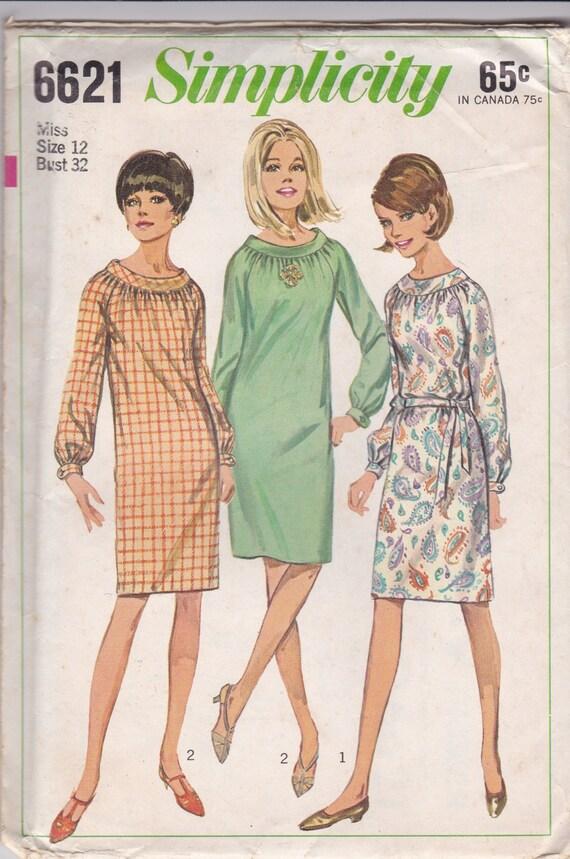 60s Shift Dress Pattern Simplicity 6621 Size 12 Uncut - photo#22