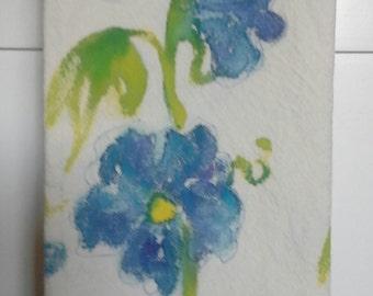 Tea Towel Hand painted. Blue Delphinium flowers.