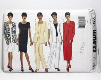Uncut Sewing Pattern, Misses Wardrobe, Butterick 5945, Jacket, Top, Dress, Skirt, and Pants, Classic Fashion, Sizes 8, 10, 12