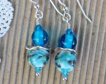 Lampwork Earrings, Lampwork Jewelry, Lampwork Bead Earrings, Aqua Turquoise Beads, Dangle Earrings, Sterling Silver
