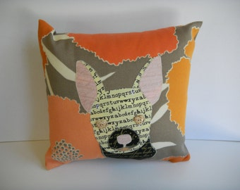 Chihuahua Throw Pillow, Chihuahua decorative pillow, custom pet pillow, appliqued pillow, my dog on a pillow, whimsical pillow, custom  work