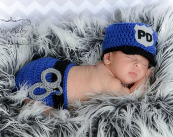 Newborn Baby Police Officer Hat and Diaper Cover set, Baby Police Officer PHOTO PROP- crochet baby shower gift, Newborn Photo Prop