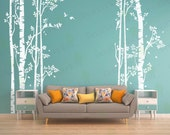 Birch Tree Wall Decal Forest Large Tree Decals Nursery Sticker Living room Bedroom Home Decor Birds Removable Vinyl Stickers Wall Mural