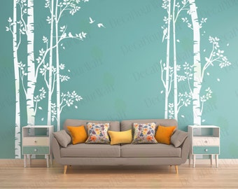 Birch Tree Wall Decal Forest Large Tree Decals Nursery Sticker Living Room  Bedroom Home Decor Birds