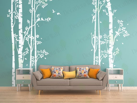 Birch tree wall decal forest large tree decals nursery sticker for Black tree mural