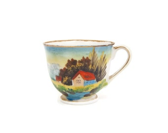 Vintage Country Scene Miniature Teacup Occupied Japan Hand Painted Eggshell Porcelain Farm Barn Tea Party Footed Cup