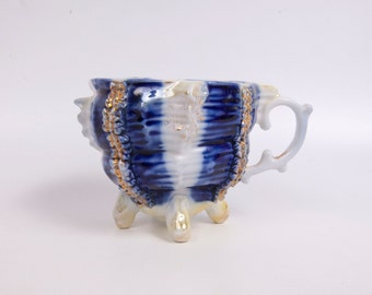 Antique Lusterware German Teacup Cobalt Blue Raised Porcelain Gold trim Footed Tea Cup Blue and White