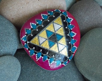 In the vortex / mystic triangle / pyramid / golden triangle / painted rocks / painted stones / geometric /triangles / small paintings