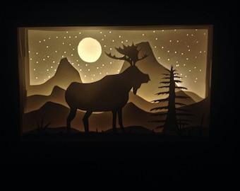 Moose mountains paper diorama light box night light