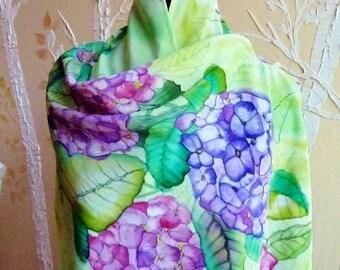 Hydrangea Hand Painted Silk Shawl, Wrap, Scarf in Lime, Spring Green, Lavender, Fuchsia, Orchid