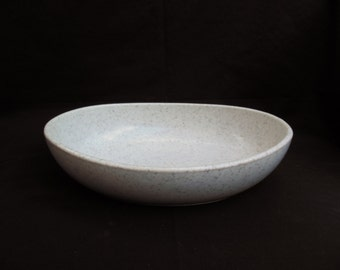 Unbreakable Melmac Oval Bowl Gray Melamine Spatterware Serving Dish White with Grey Confetti