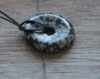Snowflake Obsidian Pi Stone 30mm Donut with Cord V11B11