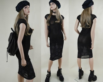90s Grunge Goth Black Sheer Mesh Stretchy Cap Sleeve See Through Midi Dress XS / S