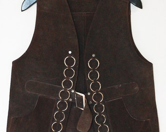 70s Vintage Suede Vest with Chain Detail
