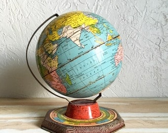 Vintage Tin Globe with Astrology Signs
