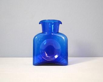 Vintage Blenko Cobalt Blue Water Bottle or Pitcher - Model 384