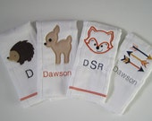 choose any 2 woodland burp cloths/ personalized woodland animal burp cloths/ tribal arrows burp cloths