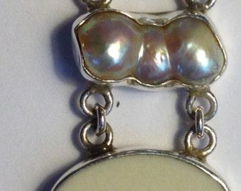 Vintage Sterling Silver Baroque Pearl Bracelet