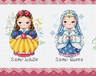 6 Matryoshka dolls of Fairy Tales Characters, Alice in Wonderland, Little Red Riding Hood, Snow White, Snow Queen, Cross stitch pattern